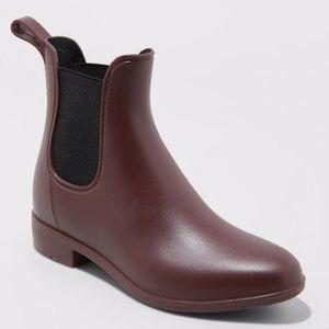 NWOT Merona Chelsea Burgundy Rain Boots